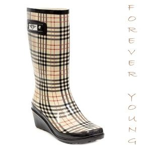 Women Tall Rubber Wedge Rainboots, #3100, Checkers